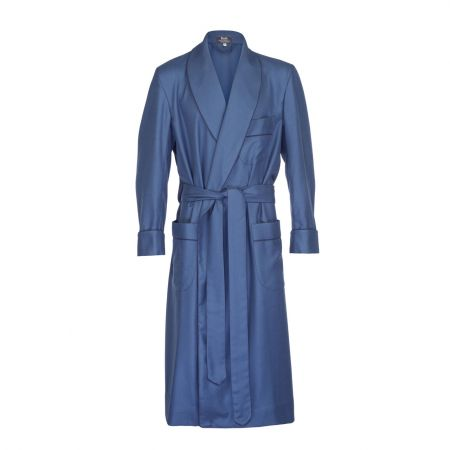 Plain Wool Dressing Gown in Airforce Blue