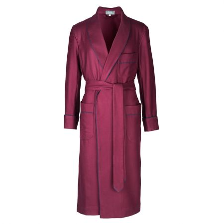 Plain Wool Dressing Gown in Burgundy