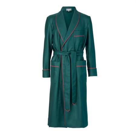 Plain Wool Dressing Gown in Green
