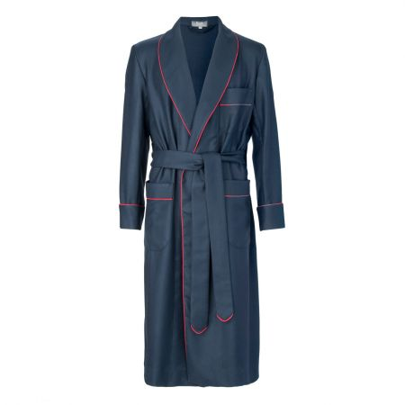 Plain Wool Dressing Gown in Navy