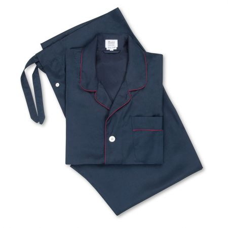 Plain Silk Pyjamas in Navy