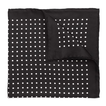Medium Spot Silk Pocket Square in Black and White