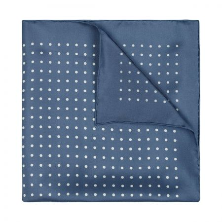 Medium Spot Silk Pocket Square in Butcher Blue and White