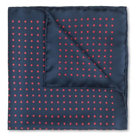 Medium Spot Silk Pocket Square in Navy and Red