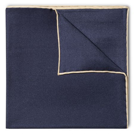 Plain Silk Pocket Square with Contrast Edge in Navy and Cream