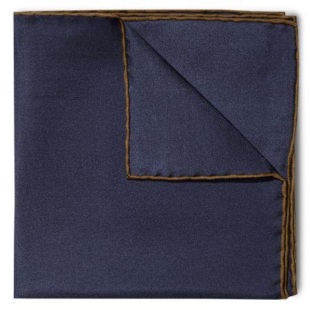 Plain Silk Pocket Square with Contrast Edge in Navy and Brown