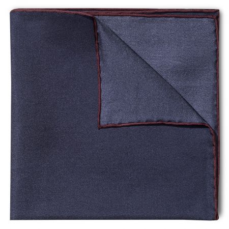 Plain Silk Pocket Square with Contrast Edge in Navy and Wine