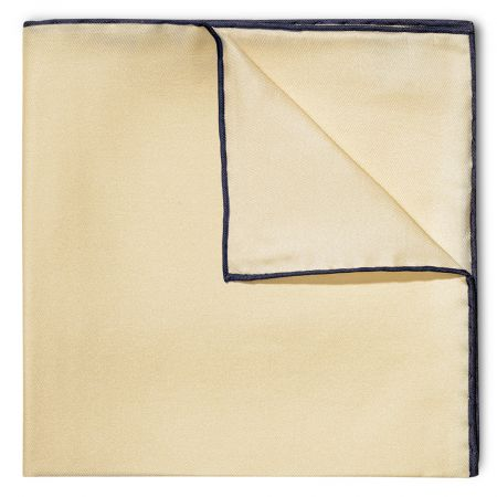 Plain Silk Pocket Square with Contrast Edge in Cream and Navy