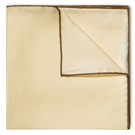 Plain Silk Pocket Square with Contrast Edge in Cream and Brown