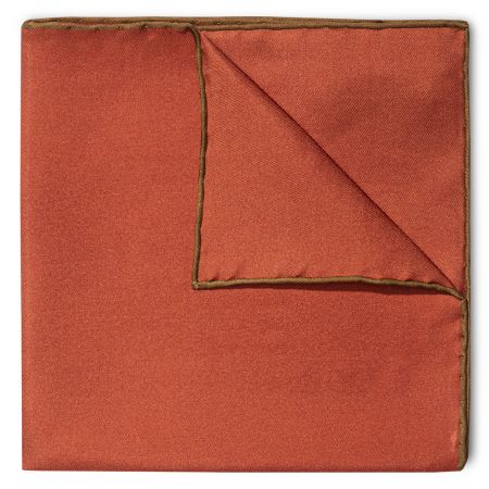 Plain Silk Pocket Square with Contrast Edge in Brown and copper