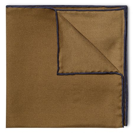 Plain Silk Pocket Square with Contrast Edge in Brown and Navy
