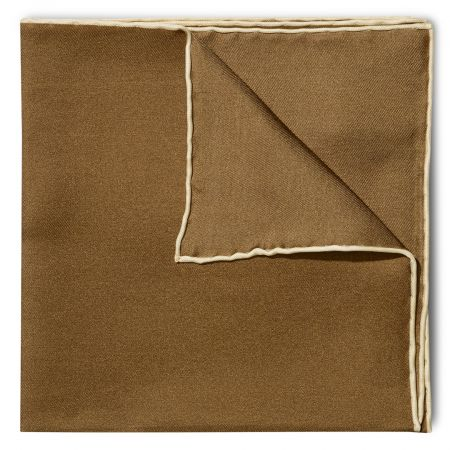 Plain Silk Pocket Square with Contrast Edge in Brown and Cream