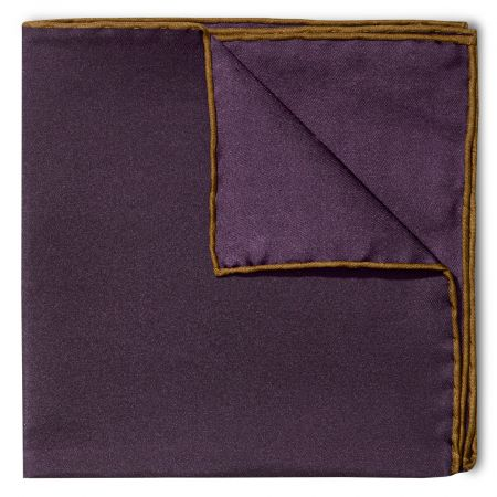 Plain Silk Pocket Square with Contrast Edge in Brown and Plum