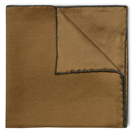 Plain Silk Pocket Square with Contrast Edge in Brown and Bottle Green