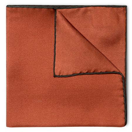 Plain Silk Pocket Square with Contrast Edge in Bottle Green and Copper