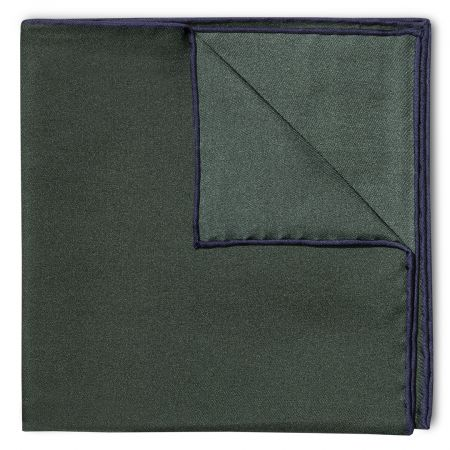 Plain Silk Pocket Square with Contrast Edge in Bottle Green and Navy