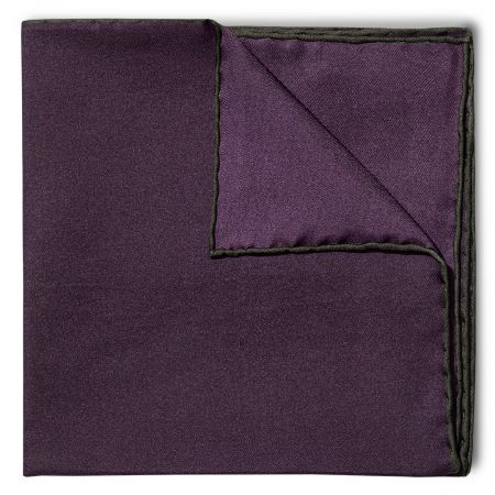 Plain Silk Pocket Square with Contrast Edge in Bottle Green and Plum