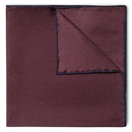 Plain Silk Pocket Square with Contrast Edge in Wine and Navy