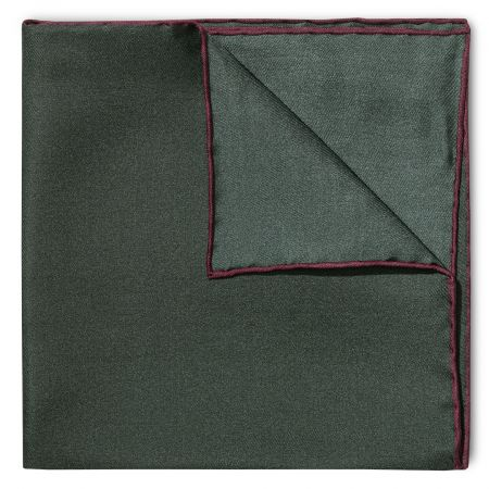 Plain Silk Pocket Square with Contrast Edge in Wine and Bottle Green