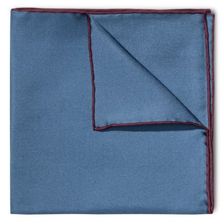 Plain Silk Pocket Square with Contrast Edge in Wine and Blue