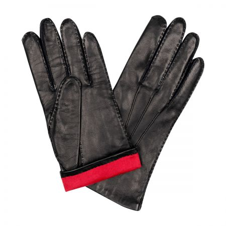 Plain Cape Leather Silk Lined Gloves in Black and Red