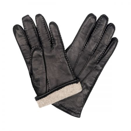 Plain Cape Leather Cashmere Lined Gloves in Black