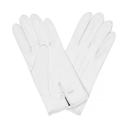 Plain Leather Gloves in White