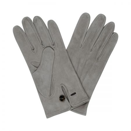 Plain Leather Gloves in Grey