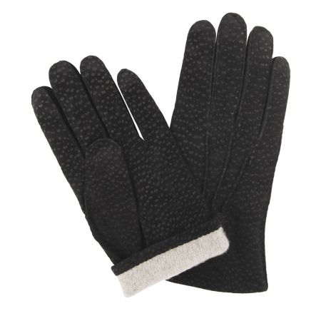 Buffed Hogskin Cashmere Lined Gloves in Black