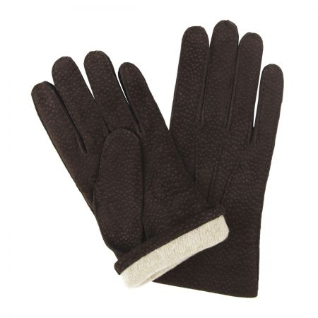 Buffed Hogskin Cashmere Lined Gloves in Dark Brown