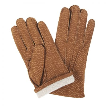 Buffed Hogskin Cashmere Lined Gloves in Tan