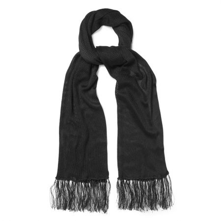 Plain Knitted Silk Dress Scarf in Black