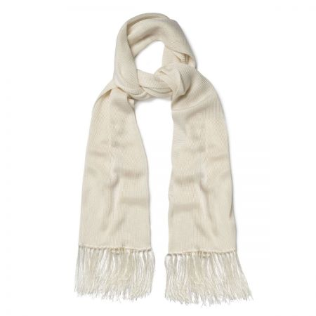Plain Knitted Silk Dress Scarf in Ivory
