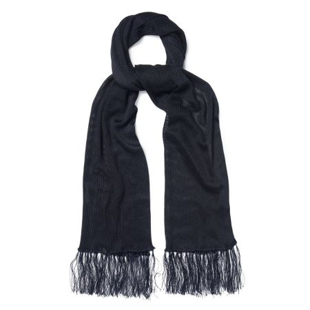 Plain Knitted Silk Dress Scarf in Navy