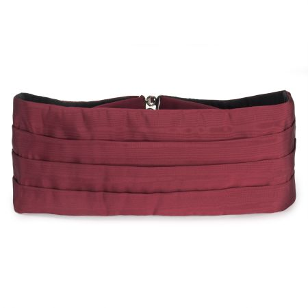 Plain Moire Silk Cummerbund in Red