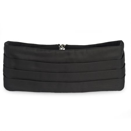 Plain Barathea Silk Cummerbund in Black