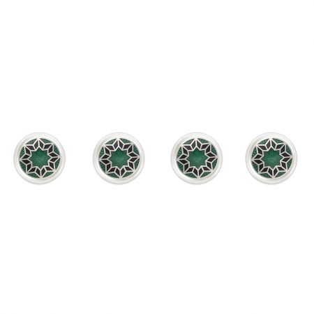 Funky Star Cloisonné Shirt Studs in Green