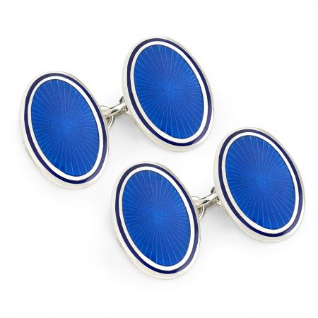 Sunburst Cloisonné Chain Cufflinks in Blue