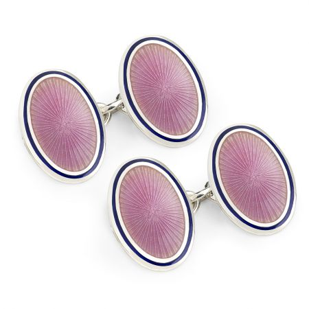Sunburst Cloisonné Chain Cufflinks in Pink
