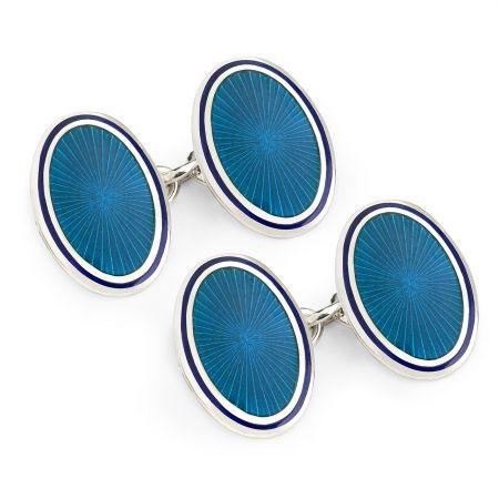 Sunburst Cloisonné Chain Cufflinks in Turquoise