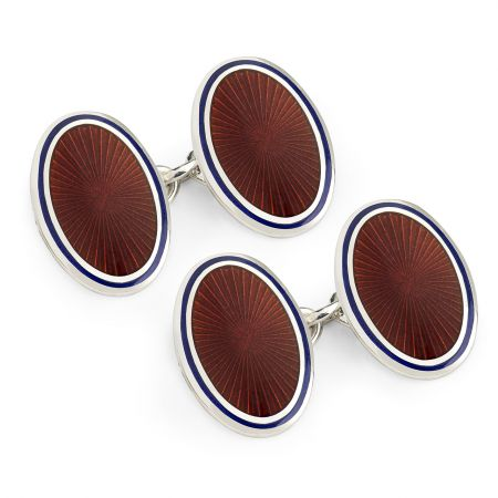 Sunburst Cloisonné Chain Cufflinks in Red