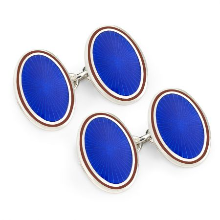 Sunburst Cloisonné Chain Cufflinks in Royal and Red