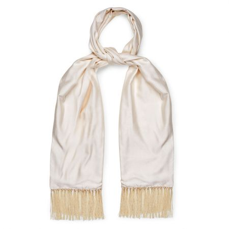 Whitchurch Herringbone Silk Dress Scarf in Ivory