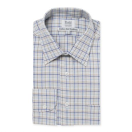 Cotton and Cashmere Rural Check Shirt in Blue