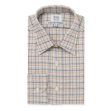 Cotton and Cashmere Rural Check Shirt in Green