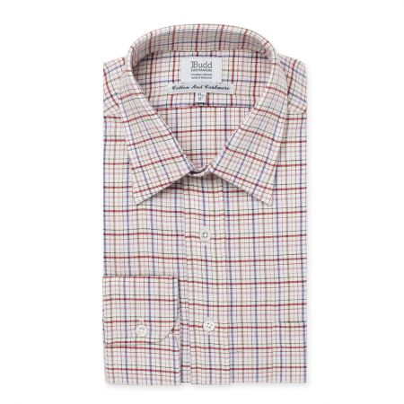 Cotton and Cashmere Rural Check Shirt in Pink