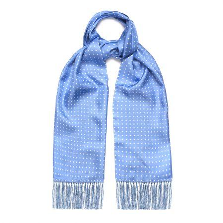 Blue and White Atkinson Silk Spot Scarf