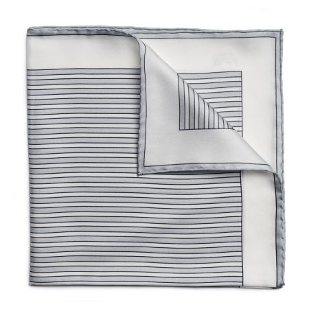 Exclusive Budd Stripe Silk Pocket Square in Grey