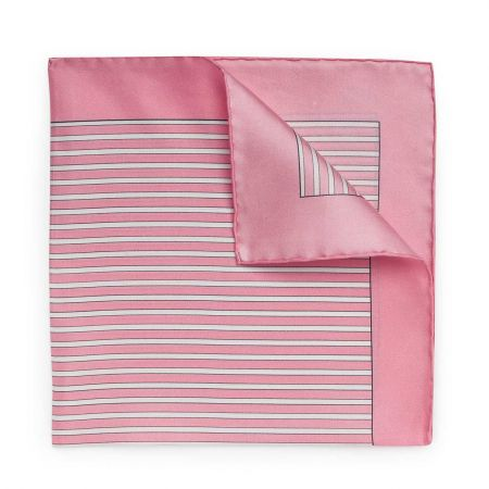 Exclusive Budd Stripe Silk Pocket Square in Pink