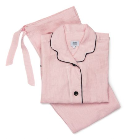 Plain Linen Ladies Pyjamas in Pink and Navy